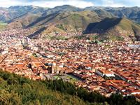 Stunning views over Cusco in Peru.